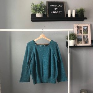 Ann Taylor teal sweater with tie size small
